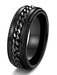 Thunaraz Stainless Steel 8mm Rings for Men Chain Rings Biker Grooved Edge, Size 7-14
