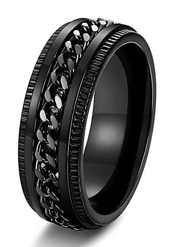 FIBO STEEL Stainless Steel 8mm Rings for Men Chain Rings Biker Grooved Edge, Size 9.5
