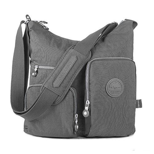 Oakarbo Nylon Multi-Pocket Crossbody Bag (1203 Cool gray / Medium)