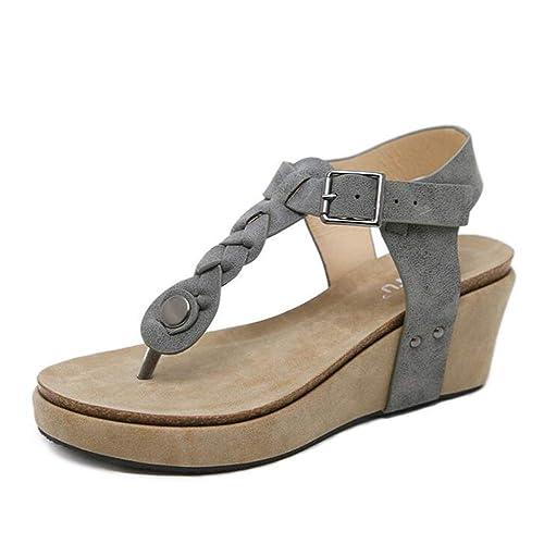4ca22f2f3fe Sandalias y Chancletas de tacón Alto Plataforma para Mujer Zapatos de Tira  de Tobillo Verano (