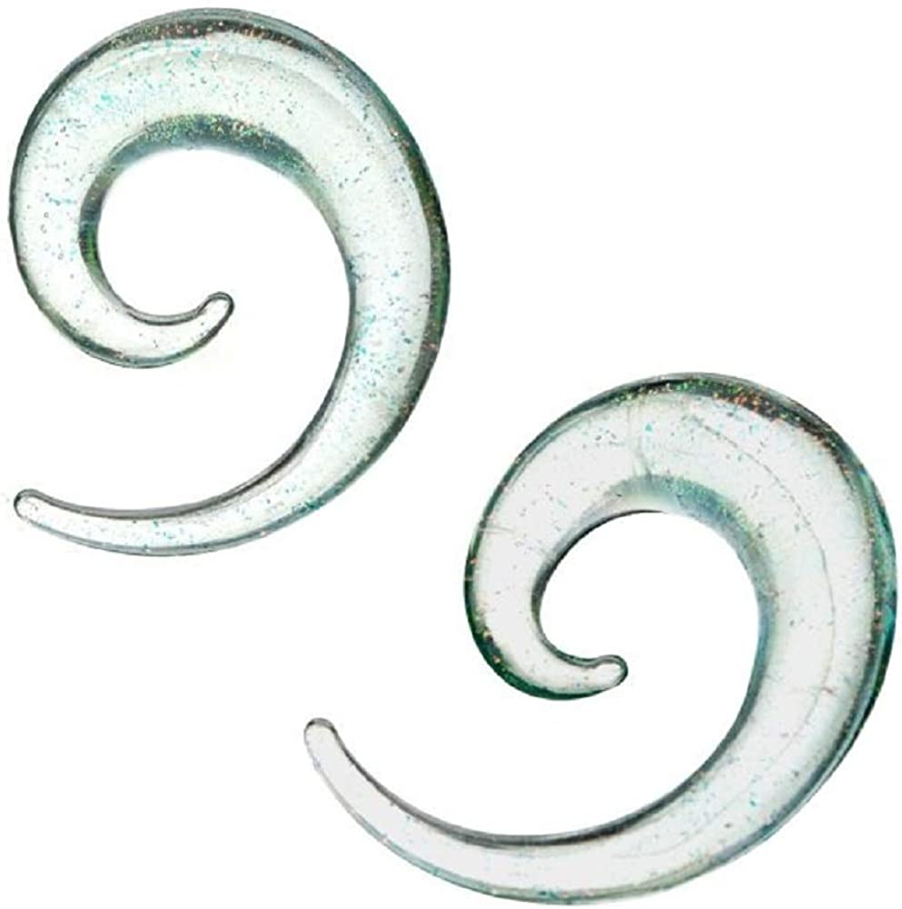 Pierced Owl Clear Glass Sparkle Spiral Taper Plugs Sold as a Pair