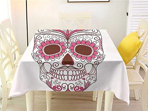 - L'sWOW Square Tablecloth White Sugar Skull Decor Mexican Ornaments Calavera Catrina Inspired Folk Art Macabre Pink Light Pink White Easy 36 x 36 Inch