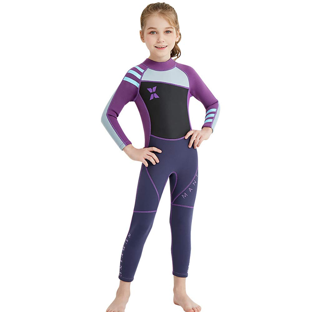 YAMTHR Kids Wetsuit 2.5mm Premium Neoprene Shorty Full Swimsuit One Piece UV Protection for Toddler Baby Children and Girls Boys (Girl's Fullsuit Suit 2.5 mm/Purple, Kids XL Size) by YAMTHR