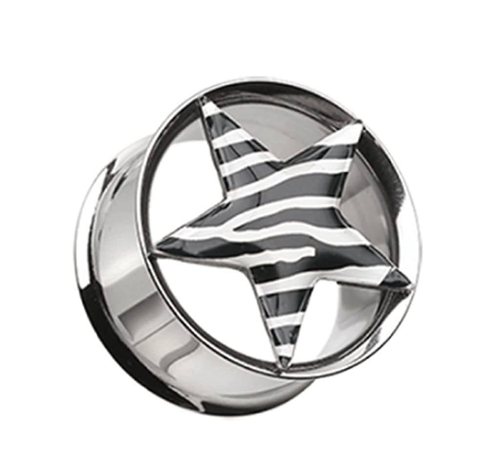Zebra Star Hollow Double Flared Steel Ear Gauge Freedom Fashion Plug Sold by Pair