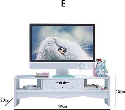 TopJiä Blanca Soporte para Monitor,ergonómico Escritorio Almacenamiento Organizador TV Pc Ordenador Portátil Soporte De Monitor E: Amazon.es: Electrónica