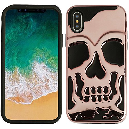 (Protective Skull iPhone X/XS case Compatible with iPhone X Case and iPhone Xs Case Cover Skull Design (Rose Gold))