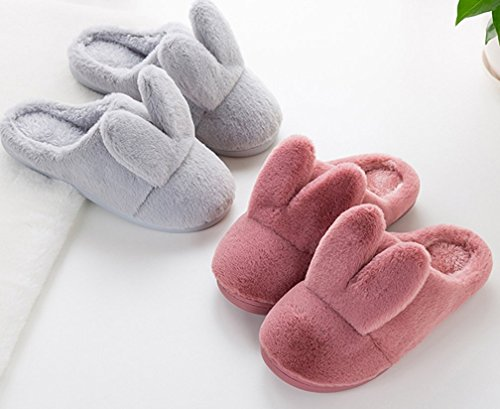 Cattior Womens Coral Warm Cute Bunny Slippers Huis Slippers Rood