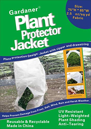 Gardaner Plant Covers Freeze Protection & Plant Frost Blanket - 2.5 oz/yd² 85 X 75 inch for Cold Weather, Reusable Shrub Jacket Covers with Zipper & Drawstring