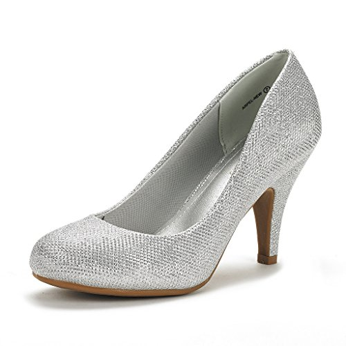 DREAM PAIRS ARPEL Women's Formal Evening Dance Classic Low Heel Pumps Shoes New Silver Glitter Size 9