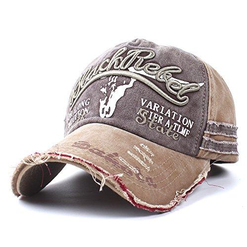 Vankerful Unisex Washed Cotton Distressed Vintage Baseball Caps Dad Hat Two Tone Adjustable Snapback Fashion Embroidered Hip Hop Trucker Hat Kakhi Brown (Hat Baseball Tone)