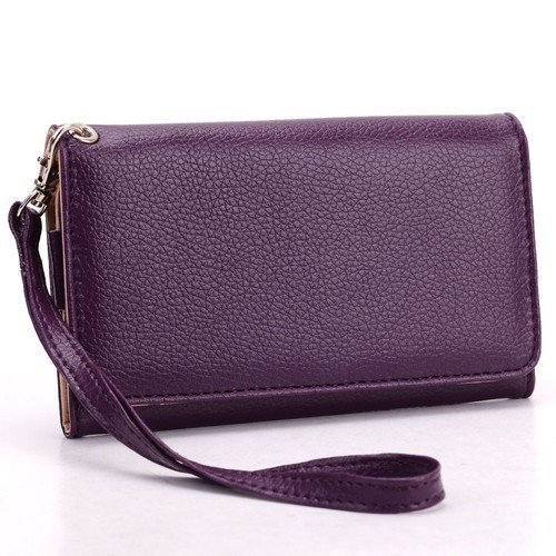 universal-smart-phone-wristlet-wallet-carry-case-purse-cover-w-strap-for-lg-lucid-4g-vs840-purple
