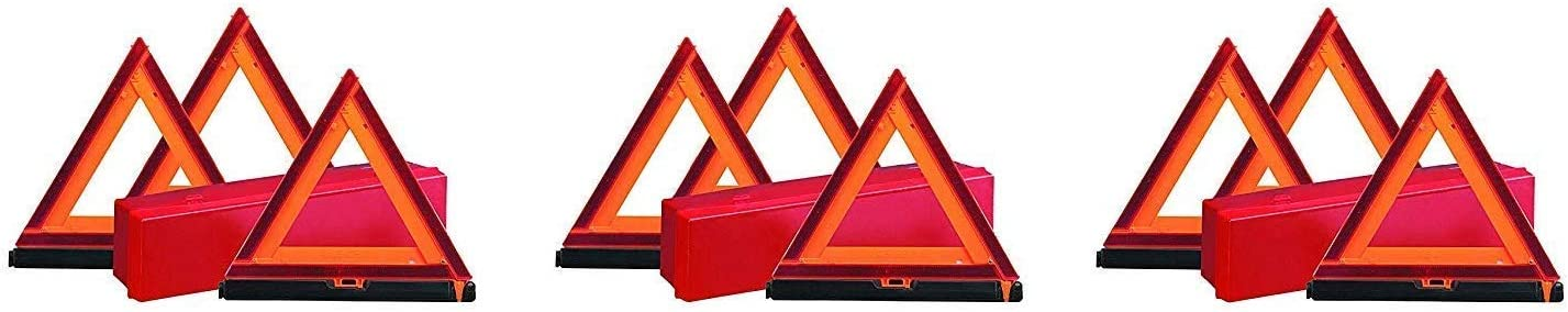 Plastic Fluorescent Orange 3 X Pack of 3 Deflecto Early Warning Road Safety Reflective Triangle Kit 73-0711-00 Folding Design with Storage Box,