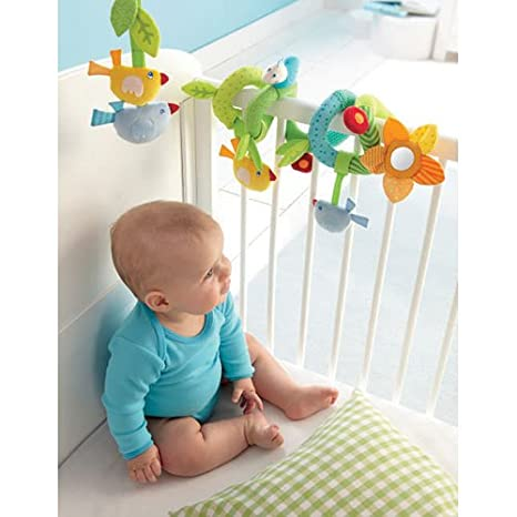 Car Seat or Play Gym Ages Birth and Up HABA Dangling Figure Snail Soft Rattling Activity Toys Attaches to Crib