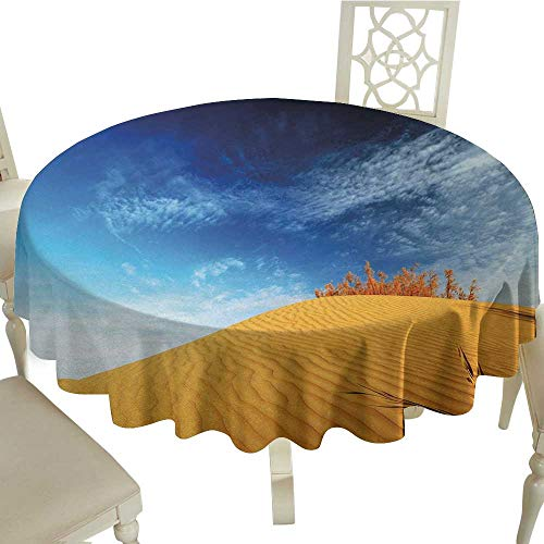 longbuyer Round Tablecloth Cotton Landscape,Hot Desert with Sand Dunes and Dry Plants with Blue Sky Nature Art Print,Blue and Apricot D54,for Umbrella Table