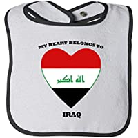 Love Soccer Heart Iraq 1 Tot Contrast Trim Terry Bib Fornate