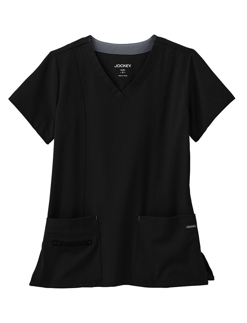 Modern Fit Collection by Jockey Women's Zipper Pocket V-Neck Solid Scrub Top Large Black