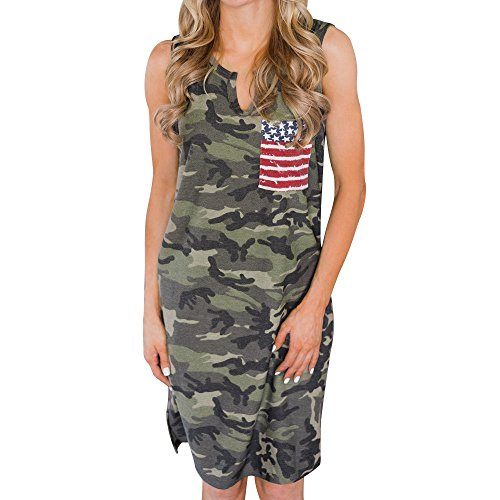 (SMALLE_Clothing SMALLE◕‿◕ Women Sundress,Sleeveless USA American Flag Printed Casual Long Dress-'Independence Day' Line Army)