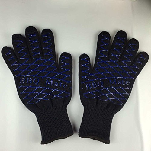 Heat Resistant BBQ Gloves - Highly Durable/Anti Slip - Best for Grilling, Baking, Boiling and Potholder. Made of High Quality Kevlar Aramid Fiber, Cotton and Silicon - Black