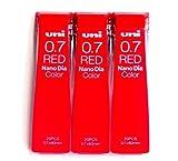 (US) Uni Mechanical Pencil Lead Nano Dia Color 0.7mm, Red (U07202NDC.15), 20 Leads 3 Pack/total 60 Leads (Japan Import) [Komainu-Dou Original Package]