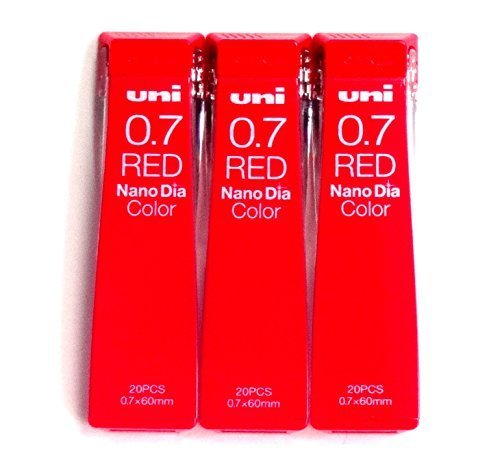 Uni Mechanical Pencil Lead Nano Dia Color 0.7mm, Red (U07202NDC.15), 20 Leads 3 Pack/total 60 Leads (Japan Import) [Komainu-Dou Original Package]