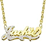 14K Two Tone Gold Personalized Double Plate 3D Name Necklace - Style 2 (20 Inches, Twisted Star Chain)