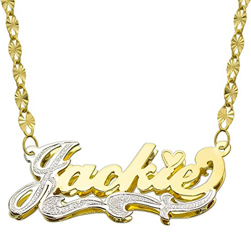 14K Two Tone Gold Personalized Double Plate 3D Name Necklace - Style 2 (20 Inches, Twisted Star Chain) by Pyramid Jewelry
