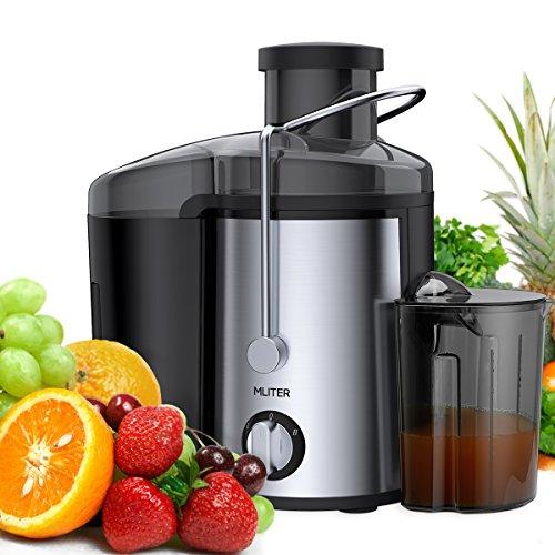 Mliter Centrifugeuse pour fruits et légumes Juicer avec 65mm Ouverture, 2vitesses, Récipient à jus 450 ml et réservoir à pulpe 1500ml, Noir
