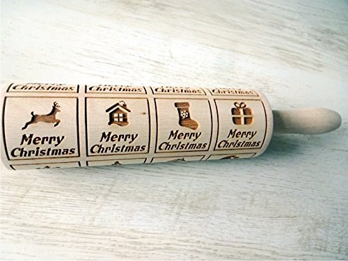CHIRISTMAS WINDOWS Rolling pin Embossing rolling pin with Merry Christmas. Christmas gingerbread cookies. by Sun Crafts (Image #1)