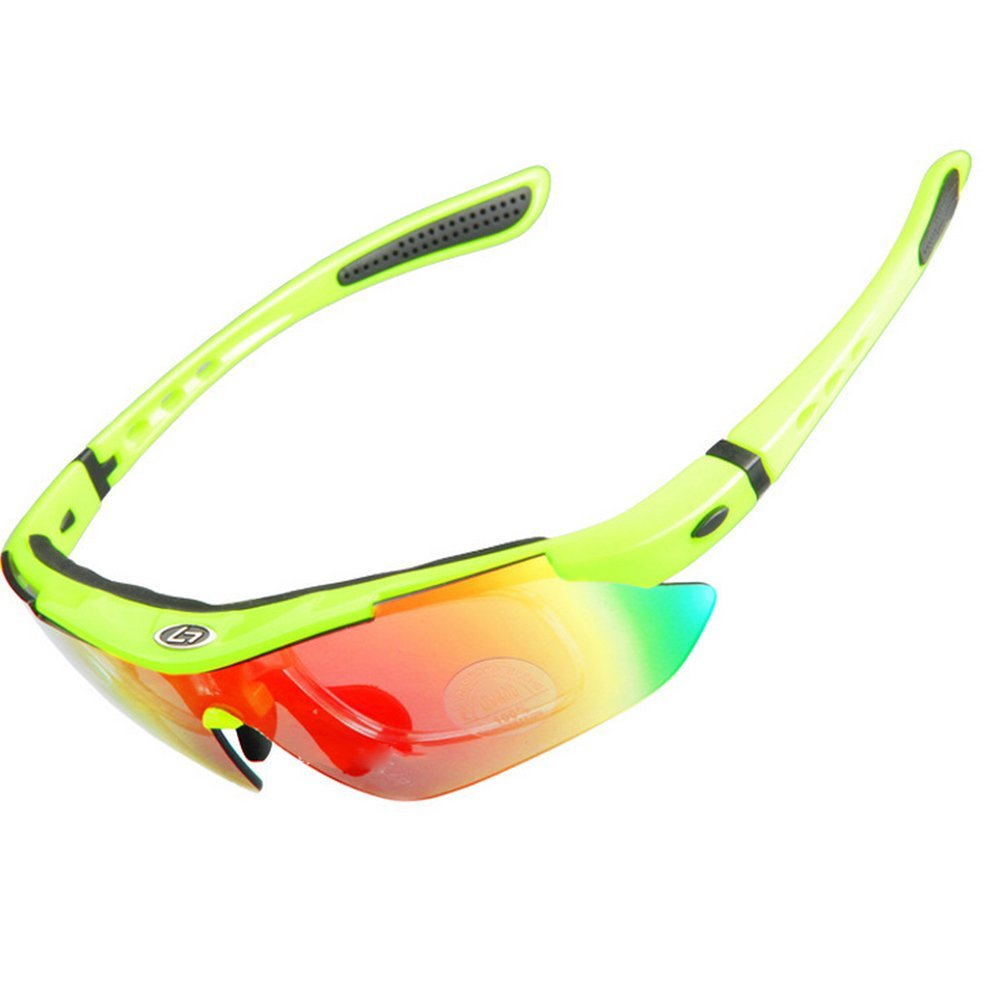 UV400 Radbrille Sportbrille Polarisierte Sonnenbrille Wechselgläser (x5 Farben) für Radfahren - Skifahren - Laufen - Driving - Motorradfahrer -Angeln