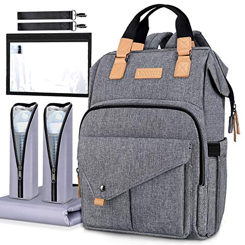 Vanku Diaper Bag Backpack RFID Blocking for Mom and Dad with Changing Pad, Stroller Straps, Organizer Pouches and Baby Bottle Insulated Bags, Large Multi-Function Nappy Bag, Stylish and Durable Gray