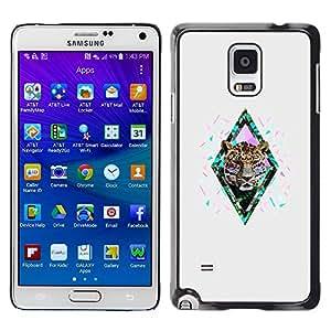 Diamante del guepardo del leopardo del brillo gris- Metal de aluminio y de plástico duro Caja del teléfono - Negro - Samsung Galaxy Note 4