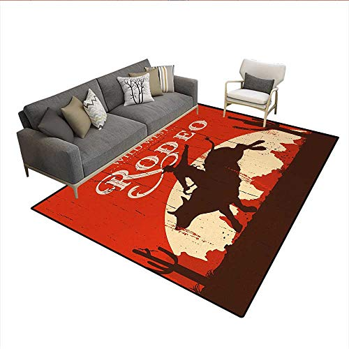 Carpet,Rodeo Cowboy Riding Bull Wooden Old Sign Western Wilderness at Sunset Image,Indoor Outdoor Rug,Redwood OrangeSize:6'x9'