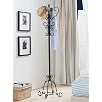 K & B Furniture Scrolling Metal Coat Rack - 69H in.