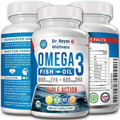 Omega 3 Fish Oil Triple Strength up to 3000mg | 180 Capsules | 1200mg EPA, 900mg DHA | Concentrated Liquid Potency Doctor Formulated Supplement | Natural Burpless Lemon Flavored Pills | Men Women