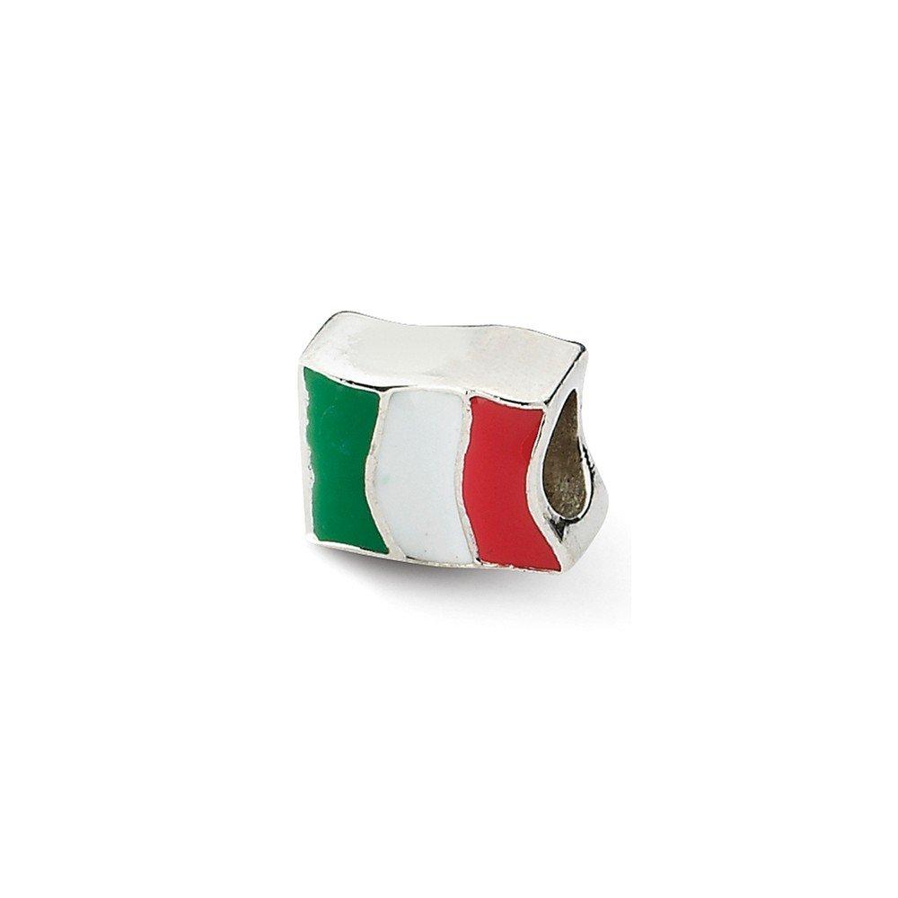 De réflexions en argent Sterling perle Charm drapeau de l'Italie-JewelryWeb