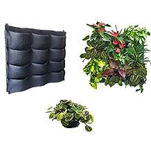 12 Pocket Black Felt Vertical Planter Living Garden Wall Decor Green Life