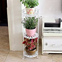 LPYMXCreative Flower Stand Wrought Iron Flower Shelf Multi-Layer Floor Balcony Indoor Living Room Space to Spend (Color : White, Size : 29.5×85cm)