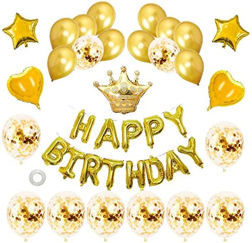 [スポンサー プロダクト]風船 誕生日 飾り付け Happy Birthday バルーン パーティー 装飾 きらきら風船 パーティー お祝い男の子と女の子用 ゴールド