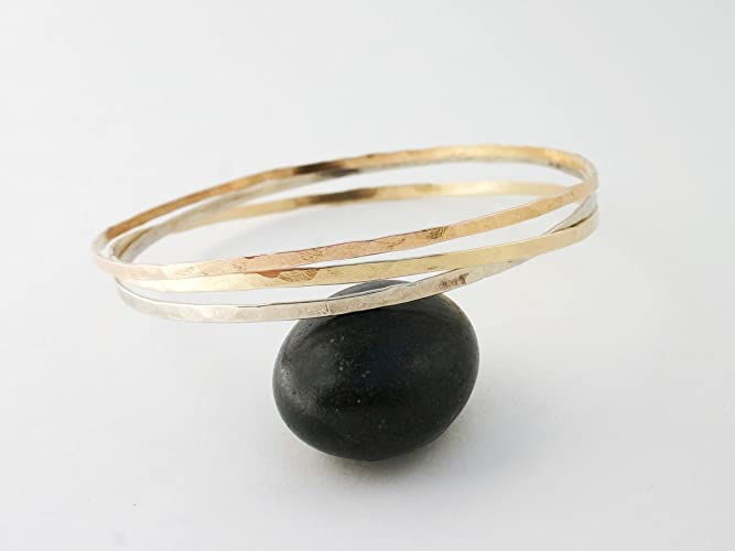 07c4f3987ab Image Unavailable. Image not available for. Color: 14k Hammered Gold Bangle.  Thin Solid ...
