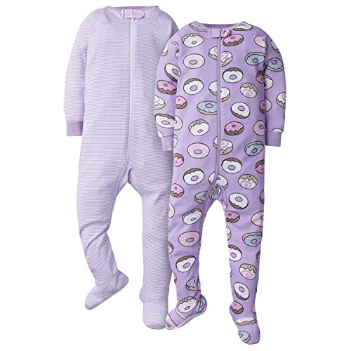 GERBER Baby Girls 2-Pack Footed Unionsuit, Donuts, 12 Months