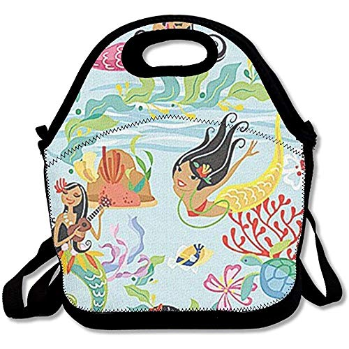 CdVeK9ca Hawaii Island Hula Mermaids Neoprene Lunch Bag Insulated Waterproof Lunch Box Tote Bag with Zipper for Kids Boys Girls Women and Men -