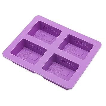 Cuatro agujeros de silicona rectangular DIY jabón molde árbol sólido jabones hecho a mano caja multifunción herramienta de fabricación: Amazon.es: Hogar