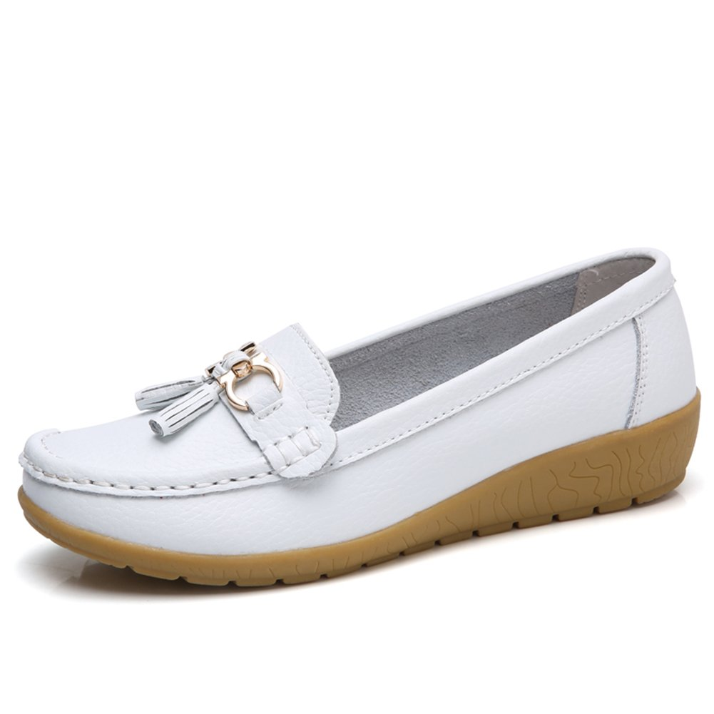 NineCiFun Womens Leather Tassel Loafers Slip on Work Shoes (5.5 B(M) US,White)