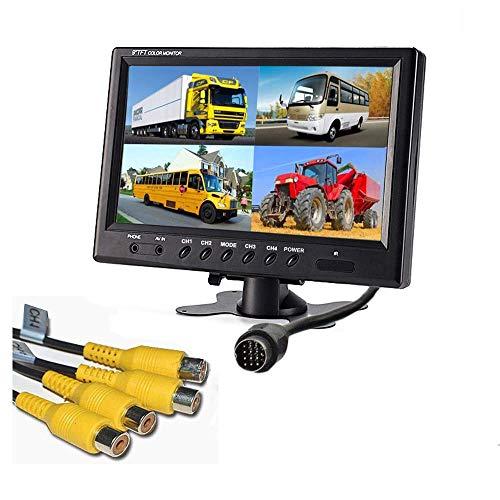 - Camecho 9 Inch 16:9 HD 800x480 RGB 4 Split Video Display TFT LCD Display Monitor 4 Video Input Car Rear View Monitor Headrest Monitor for Truck/Bus/School Bus/Car