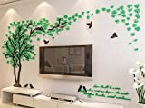 3d Couple Tree Wall Murals for Living Room Bedroom Sofa Backdrop Tv Wall Background, Originality Stickers Gift, DIY Wall Decal Home Decor Art Decorations (Large, Green)
