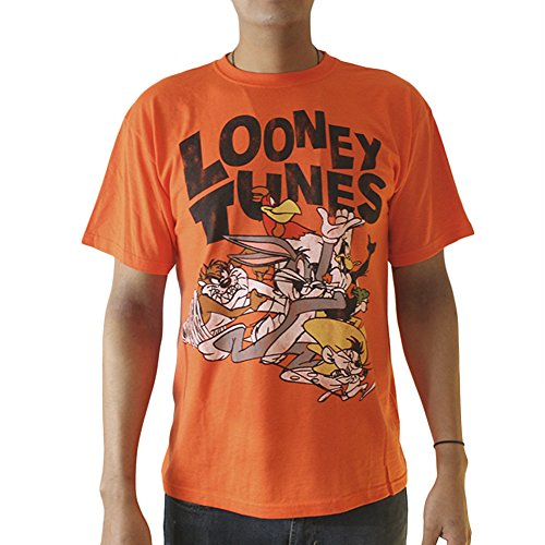 Looney Tunes Bugs Bunny,Taz and Friends Licensed Men's Orange T-shirt ()