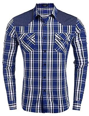 COOFANDY Men's Plaid Dress Shirt Cotton Casual Long Sleeve Slim Fit Button Down Shirt