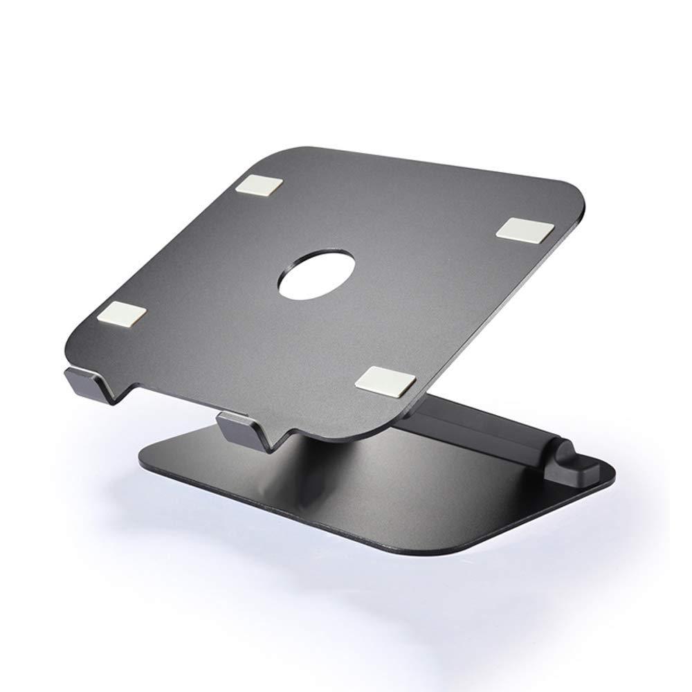 ラップトップスタンドアルミ/シリコンの高さ調整可能な滑り止めクリエイティブユニバーサル折りたたみ式リフトポータブル冷却サポートベース2色から選択するラップトップスタンド (色 : ブラック) B07SBWS862 ブラック