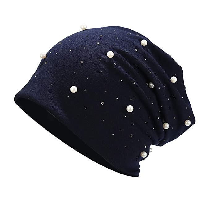 Sombreros de Mujer Cálida Suave con Perla Diadema Beanie Gorros de ...