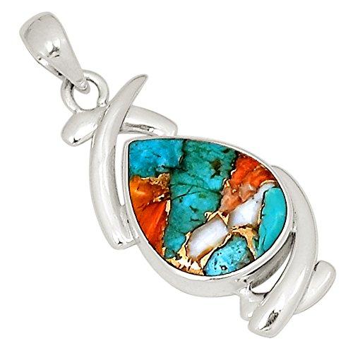 Xtremegems Spiny Oyster & Arizona Turquoise 925 Silver Pendant Jewelry 1.5